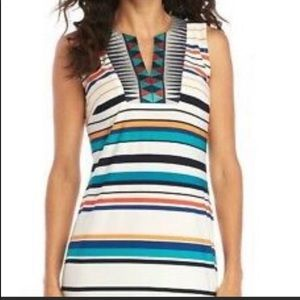 Madison Leigh Stripe Embroidered Yoke Shift Dress